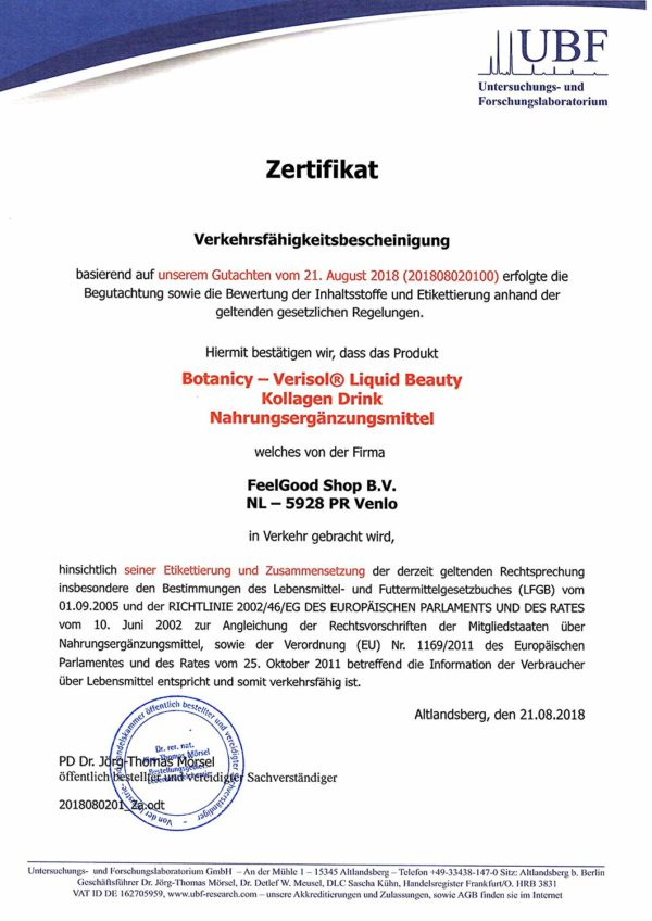 Express Falten Minderung - LIQUID BEAUTY Trink-Kollagen Verisol & Hyaluron - Prüfzertifikat