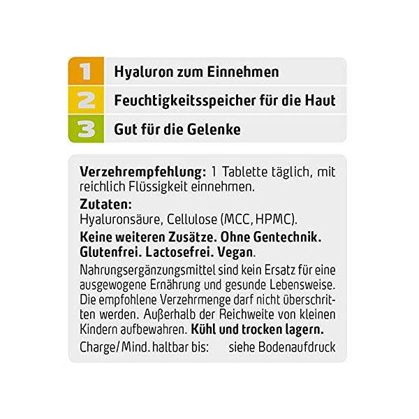 Veganes Hyaluron - 50 mg rein, hochdosiert, 180 Tabletten, vegan – wichtiger Baustoff für Haut - Hinweis, Inhalt