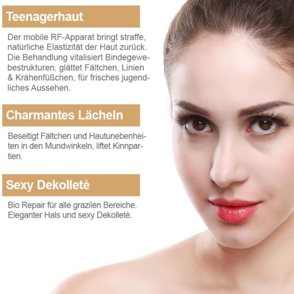 Mobiler RF Apparat – Radiofrequenztherapie, Hautlifting für unterwegs - sexy Lächeln & Dekollete