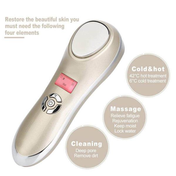 Heiß-Kalt Anti-Aging, mobiles Ultraschall Therapiegerät für Gesicht & Augenpartien, ION Mikro-Strom, Galvanikkopf - 3 in 1
