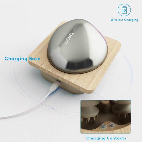 Breo Electric - Design- Kopfhaut Massager, kabellos, Haarausfall vermeiden - Ladestation mit Anzeige