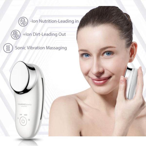 TOUCH Sonic - Gesichtshautglättung, Gesichtsmassagegerät, Vibrations- & Ionentherapie - Hautreinigung, Absorption, Tiefenmassage