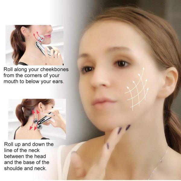 3D Massage Gesichtsroller mit Mikrostrom, Hautstraffung - Massagebewegungen