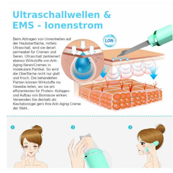 Ultraschall Peelinggerät - Ultraschall Porenreiniger - Ultraschallwellen Peeling