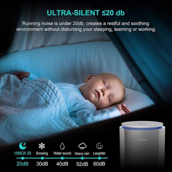 HIMOX Desktop Allergie Luftfilter – HEPA + Aktivkohlesystem - Luftfilter Schlafmodus