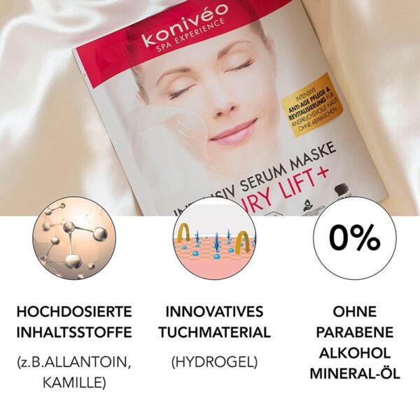 Koniveo Anti Aging Tuchmaske - aus hochdosiertem Hydrogel Serum - Hydrogel Anti Aging