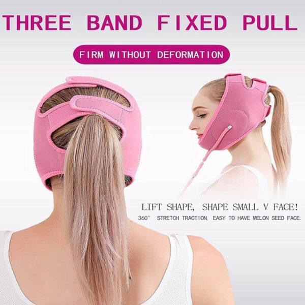 Facelifting Maske MYSHA-V - Abnehmmaske Wange Kinn, Luftkissenlifting - Klettverschluss
