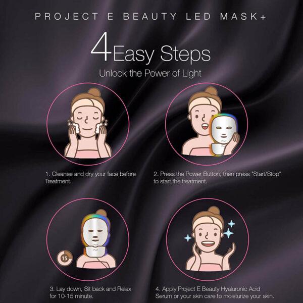 Project E-Beauty - drahtlose 7 Farben LED Maske, Hals + Gesicht, Photon LED Gesichtsbehandlung - Photonentherapie Anwendung