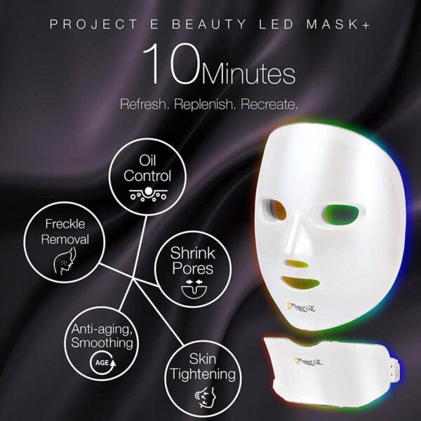 Project E-Beauty - drahtlose 7 Farben LED Maske, Hals + Gesicht, Photon LED Gesichtsbehandlung - Wirkung