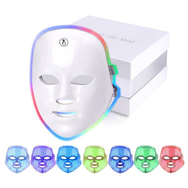 LED Gesichtsmaske - 7 Bandbreiten, Photonenbehandlung bei Akne, Falten, ergonomische Nasenform