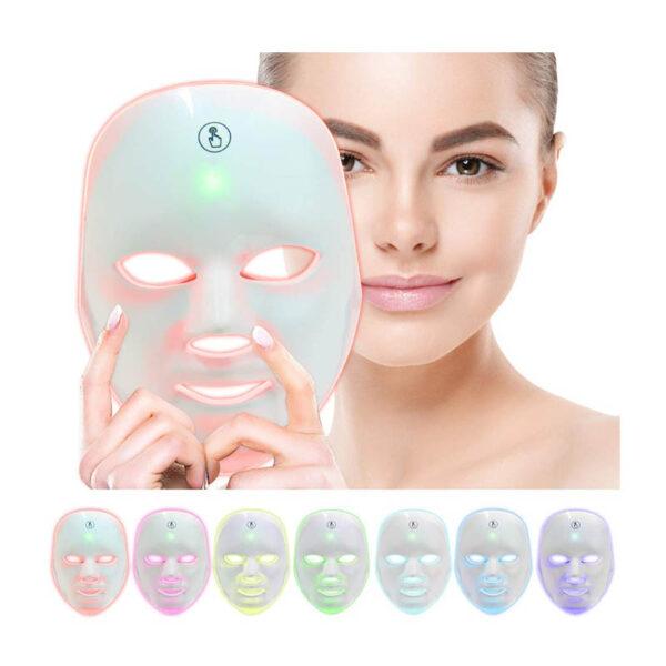 LED Gesichtsmaske - 7 Bandbreiten, Photonenbehandlung bei Akne, Falten, ergonomische Nasenform - Photonenmaske Dimension