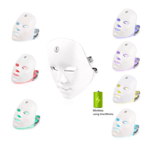 LED Gesichtsmaske - 7 Bandbreiten, Photonenbehandlung bei Akne, Falten, ergonomische Nasenform - Photonenmaske Lichtspektren