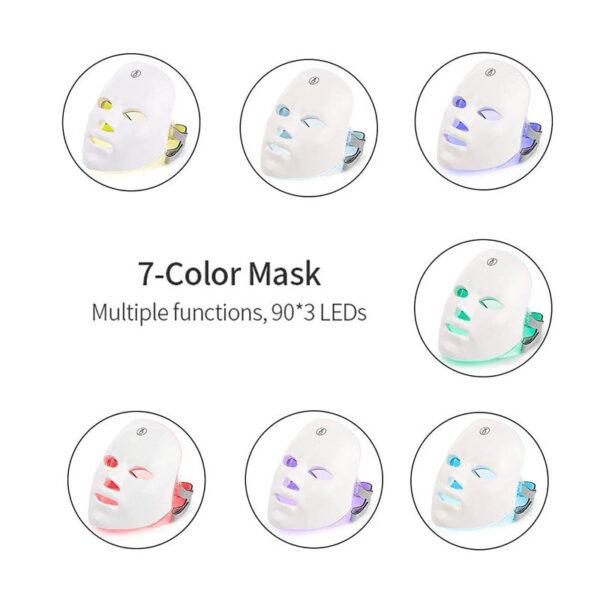 LED Gesichtsmaske - 7 Bandbreiten, Photonenbehandlung bei Akne, Falten, ergonomische Nasenform - was heilt eine Photonenmaske